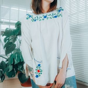 Mintage handmade embroidered southwester blouse